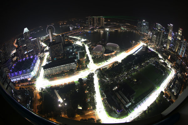 View of the singapore track, from level 65 of Swissotel The Stamford Hotel. Formula One World Championship, Rd14, Singapore Grand Prix, Marina Bay Street Circuit, Singapore, Preparations, Thursday 11 September 2014.