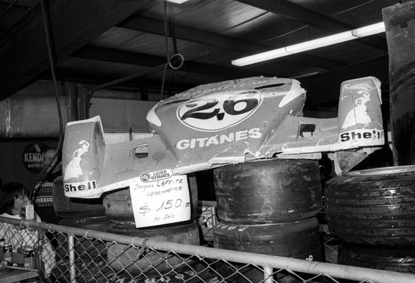 The Ligier team offer for sale a front wing damaged by driver Jacques Laffite (FRA) for $150.