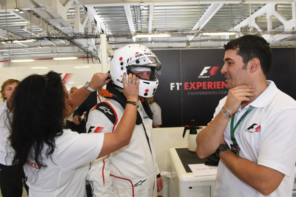 F1 Experiences 2-Seater passenger at Formula One World Championship, Rd18, Mexican Grand Prix, Practice, Circuit Hermanos Rodriguez, Mexico City, Mexico, Friday 27 October 2017.