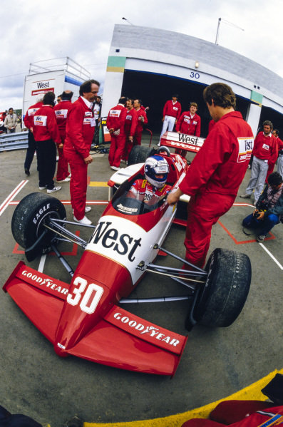 Jonathan Palmer, Zakspeed 841, in the pits.