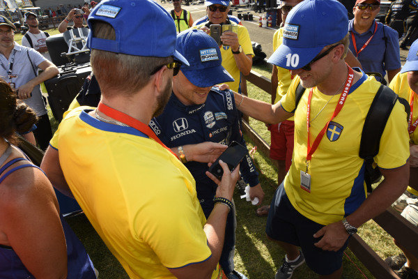 Felix Rosenqvist, Chip Ganassi Racing Honda celebrates his second place finish with Swedish fans