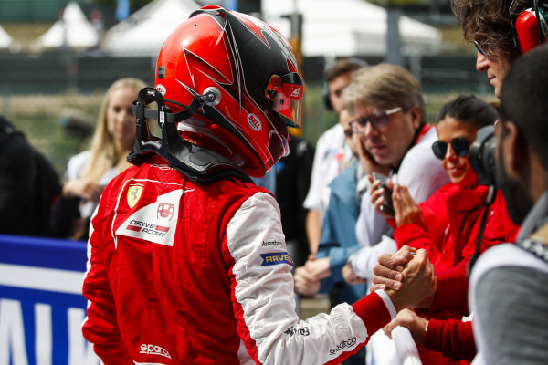 SPA-FRANCORCHAMPS, BELGIUM - SEPTEMBER 01: Winner Marcus Armstrong (NZL) PREMA Racing is congratulated in parc ferme during the Spa-Francorchamps at Spa-Francorchamps on September 01, 2019 in Spa-Francorchamps, Belgium. (Photo by Joe Portlock / LAT Images / FIA F3 Championship)