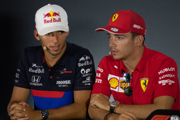 Pierre Gasly, Toro Rosso and Charles Leclerc, Ferrari in the Press Conference