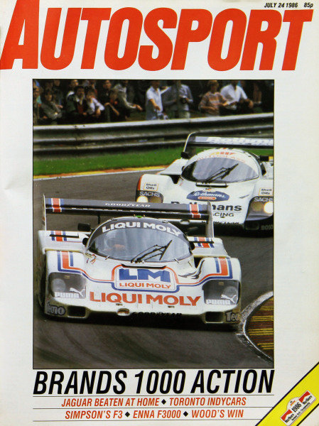 Cover of Autosport magazine, 24th July 1986