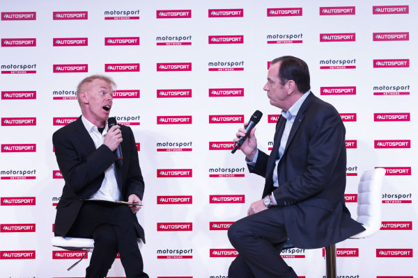 Alan Hyde talks to Alan Gow on the Autosport Stage.