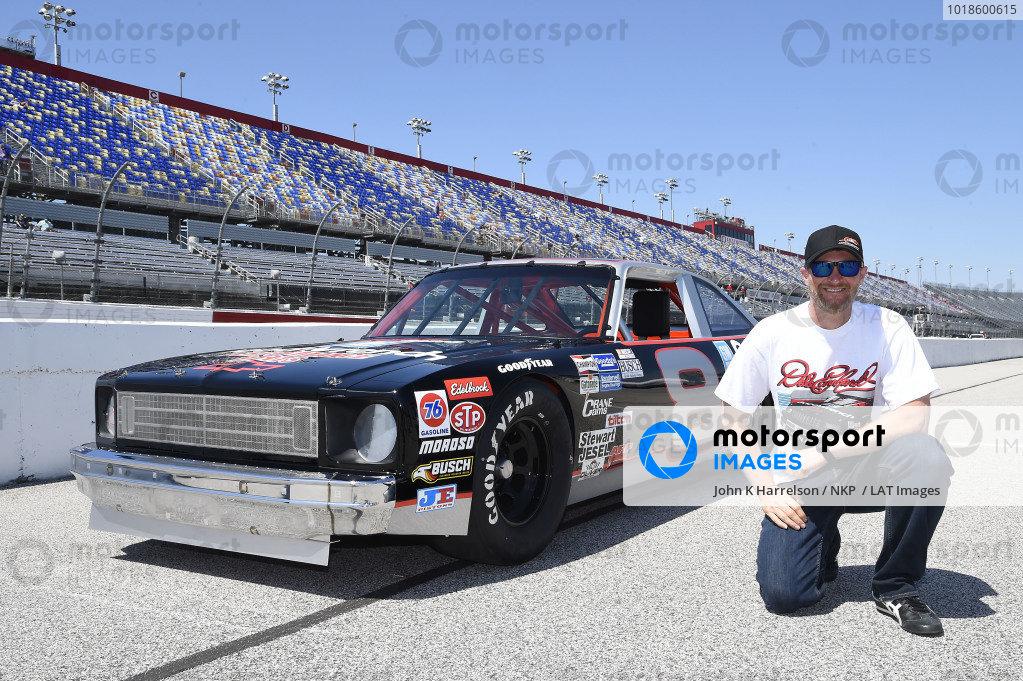 Dale Earnhardt Jr. with Dale Earnhardt's 1971 Chevy Nova.
