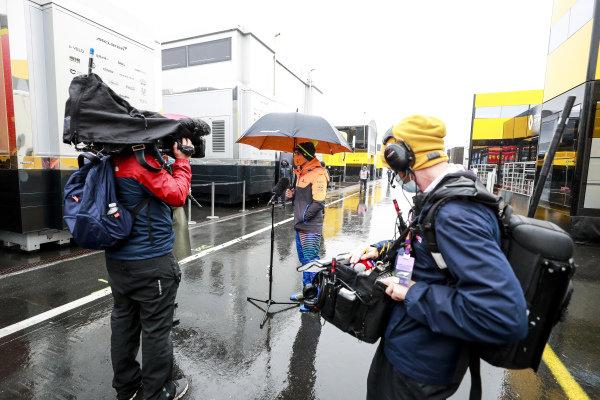 Lando Norris, McLaren, is interviewed