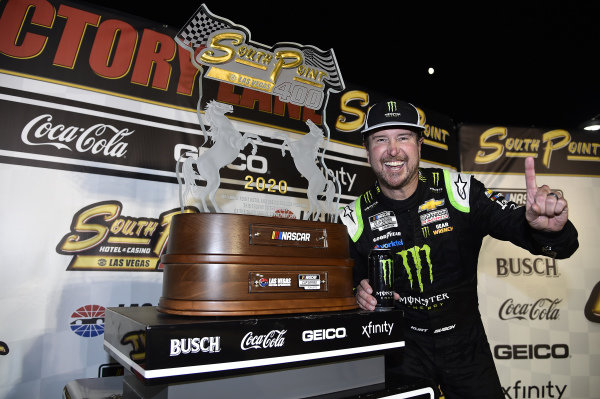 #1: Kurt Busch, Chip Ganassi Racing, Chevrolet Camaro Monster Energy, celebrates in victory Lane.
