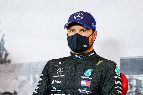 Valtteri Bottas, Mercedes-AMG Petronas F1, in the post qualifying Press Conference