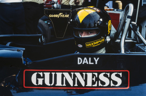 Derek Daly sits in the cockpit of his Ensign N177 Ford.