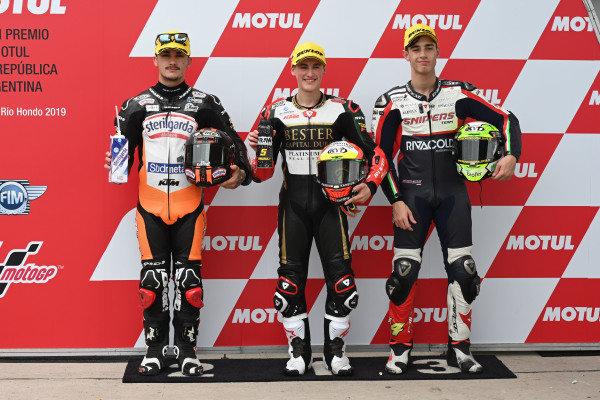 Polesitter Jaume Masia, Bester Capital Dubai, second place Aron Canet, Max Racing Team, third place Tony Arbolino, Team O.
