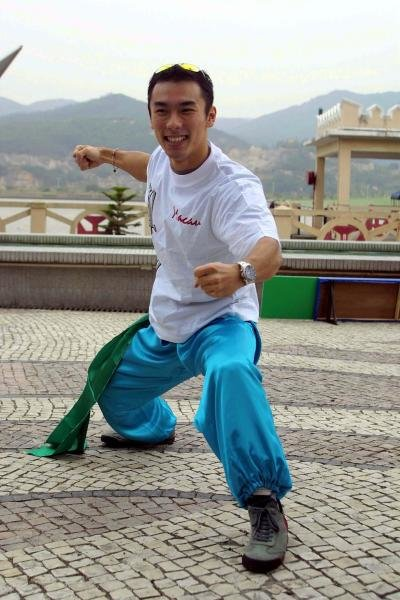 Takuma Sato (JPN) tries martial arts in Macau.