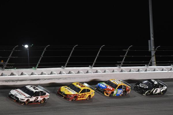#2: Brad Keselowski, Team Penske, Ford Mustang Discount Tire, #22: Joey Logano, Team Penske, Ford Mustang Shell Pennzoil, #18: Kyle Busch, Joe Gibbs Racing, Toyota Camry M&M's, #5: Kyle Larson, Hendrick Motorsports, Chevrolet Camaro NationsGuard