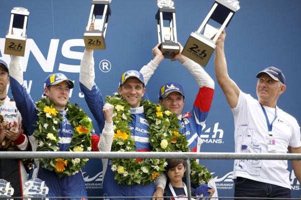 Podium: second place #11 SMP Racing BR Engineering BR1: Mikhail Aleshin, Vitaly Petrov, Stoffel Vandoorne.