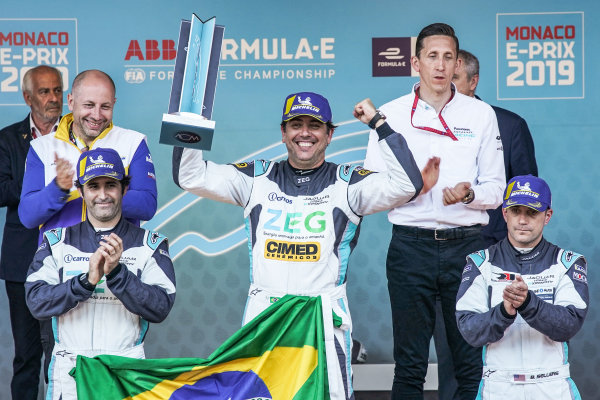 Race winner Cacá Bueno (BRA), Jaguar Brazil Racing celebrates on the podium with Sérgio Jimenez (BRA), Jaguar Brazil Racing, 2nd position and Bryan Sellers (USA), Rahal Letterman Lanigan Racing, 3rd position