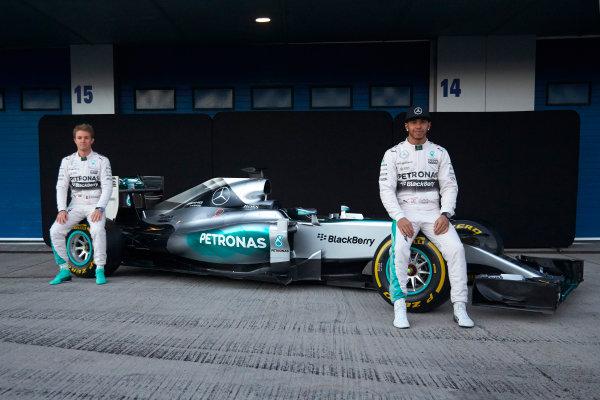 2015 F1 Pre Season Test 1 - Day 1 Circuito de Jerez, Jerez, Spain. Sunday 1 February 2015. Nico Rosberg, Mercedes AMG, and Lewis Hamilton, Mercedes AMG, at the launch of the Mercedes W06. World Copyright: Steve Etherington/LAT Photographic. ref: Digital Image SNE26223