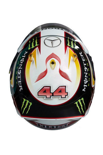 Circuit de Catalunya, Barcelona, Spain. Wednesday 25 February 2015. Helmet of Lewis Hamilton, Mercedes AMG.  World Copyright: Mercedes AMG F1 (Copyright Free FOR EDITORIAL USE ONLY) ref: Digital Image 2015_MERCEDES_HELMET_05