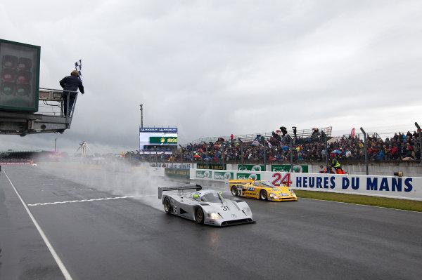 Circuit de La Sarthe, Le Mans, France. 13th - 17th June 2012.  Group C. Bob Berridge, No.31 Mercedes C11, takes the chequered flag. Photo: Daniel Kalisz/LAT Photographic.   ref: Digital Image IMG_8392