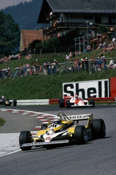 1981 Austrian Grand Prix.Osterreichring, Austria. 14-16 August 1981.Alain Prost (Renault RE30) leads John Watson (McLaren MP4/1-Ford Cosworth).World Copyright: LAT PhotographicRef: 35mm transparency 81AUT05