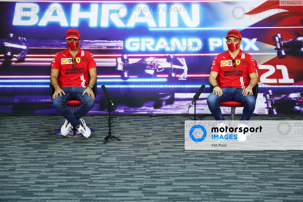 Carlos Sainz, Ferrari, and Charles Leclerc, Ferrari, in the press conference