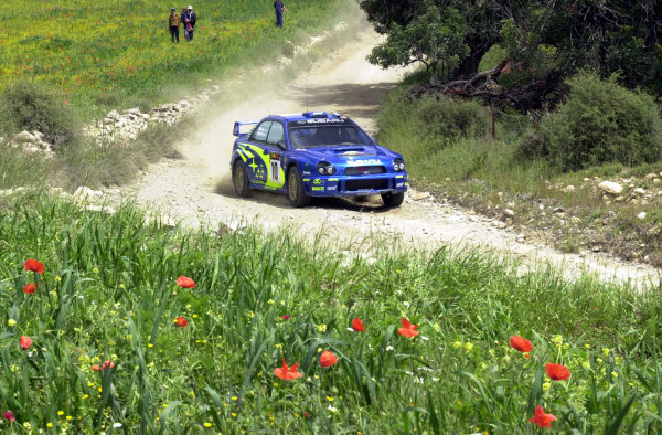 World Rally Championship, Cyprus Rally, April 18-21, 2002.Tommi Makinen in action on Stage 10, Leg 2.Photo: Ralph Hardwick/LAT