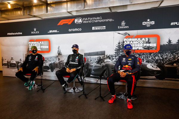 Lewis Hamilton, Mercedes-AMG Petronas F1, pole man Valtteri Bottas, Mercedes-AMG Petronas F1, and Max Verstappen, Red Bull Racing, in the post qualifying Press Conference