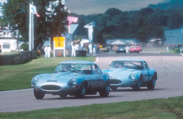 2001 Goodwood Revival.Goodwood, Sussex, England.15-16 September 2001.Williams/Corner (Jaguar E-type lightweight) followed by Pirro/Fisken (Jaguar E-type lightweight) in the RAC TT race. Ref-01 GR 37.World Copyright - LAT Photographic