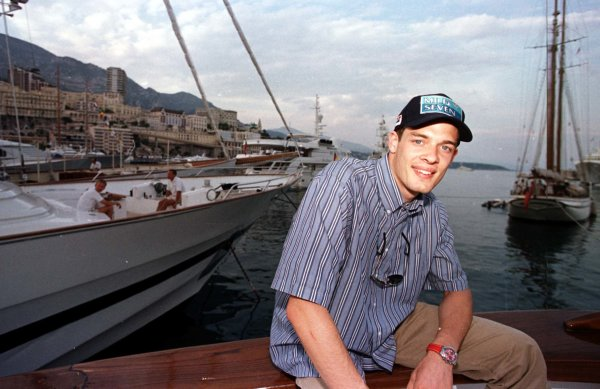 1998 Monaco Grand Prix.Monte Carlo, monaco.21-24 May 1998.Alexander Wurz sits on Luciano Benetton's yacht in the harbour.World Copyright - Tee/LAT Photographic