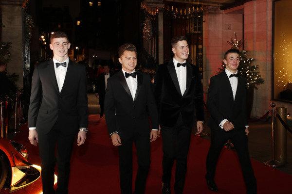 McLaren Autosport BRDC Award nominees Jamie Caroline, Tom Gamble, Max Fewtrell and Kiern Jewiss, arrive
