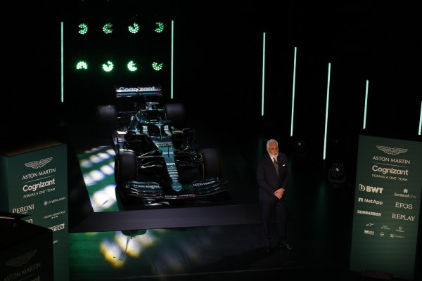 Lawrence Stroll, Owner, Aston Martin F1, with the Aston Martin AMR21