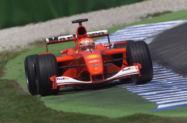 2001 German Grand Prix - PracticeHockenheim, Germany. 27th July 2001.Michael Schumacher, Ferrari F2001, action.World Copyright: Steve Etherington/LAT Photographic.ref: 16mb Digital Image