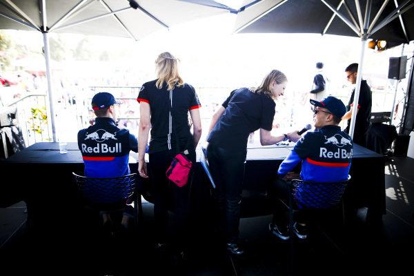 Daniil Kvyat, Toro Rosso and Alexander Albon, Toro Rosso on stage