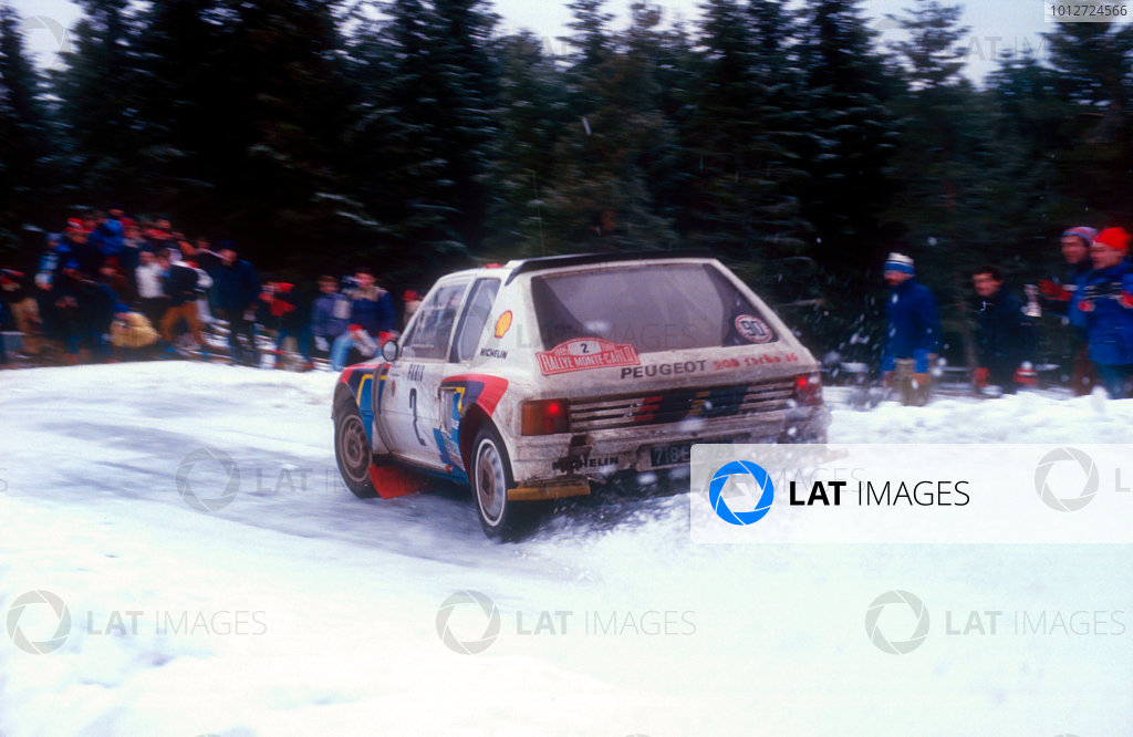 1985 FIA World Rally ChampionshipMonte carlo Rally. 26th Jan - 1 Feb 1985.Vatanen/Harryman, Peugeot 205 T16, action.World Copyright: LAT Photographic