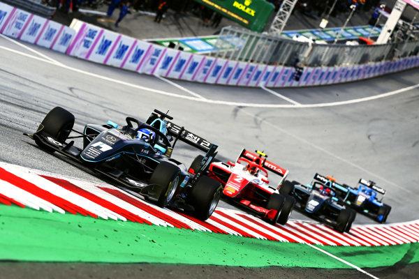 Matteo Nannini (ITA, HWA RACELAB), leads Arthur Leclerc (MCO, PREMA RACING), and Rafael Villagomez (MEX, HWA RACELAB)