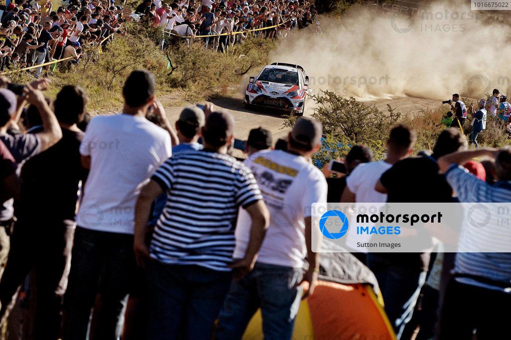 Fans and Jari-Matti Latvala (FIN) / Miikka Anttila (FIN), Toyota Gazoo Racing Toyota Yaris WRC at World Rally Championship, Rd5, Rally Argentina, Day Two, Villa Carlos Paz, Cordoba, Argentina, 29 April 2017.