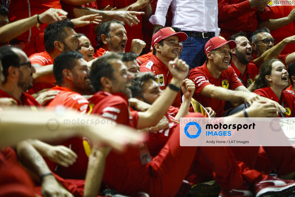 Sebastian Vettel, Ferrari, 1st position, Charles Leclerc, Ferrari, 2nd position, and the Ferrari team celebrate victory
