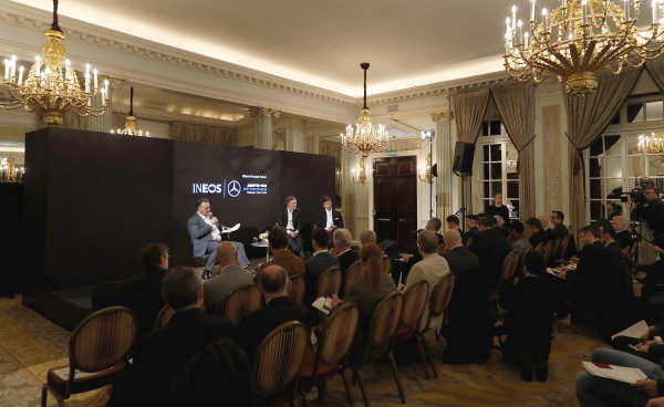 Sir Jim Ratcliffe chairman and chief executive officer of the Ineos chemicals group and Toto Wolff, Executive Director (Business), Mercedes AMG at the press conference to announce the 2020 livery.