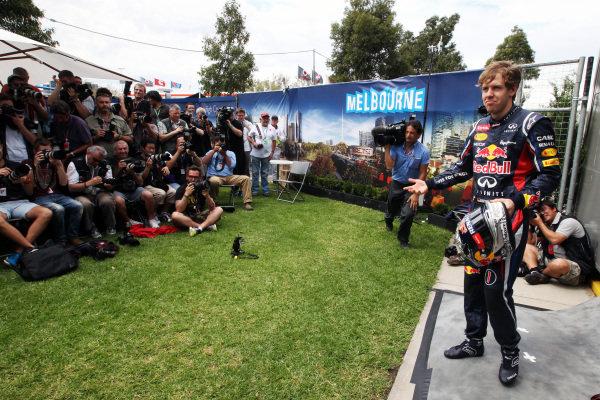 Sebastian Vettel (GER) Red Bull Racing. Formula One World Championship, Rd1, Australian Grand Prix, Preparations, Albert Park, Melbourne, Australia, Thursday 15 March 2012.
