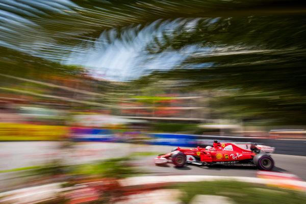 Monte Carlo, Monaco. Thursday 25 May 2017. Sebastian Vettel, Ferrari SF70H. World Copyright: Sam Bloxham/LAT Images ref: Digital Image _W6I1159
