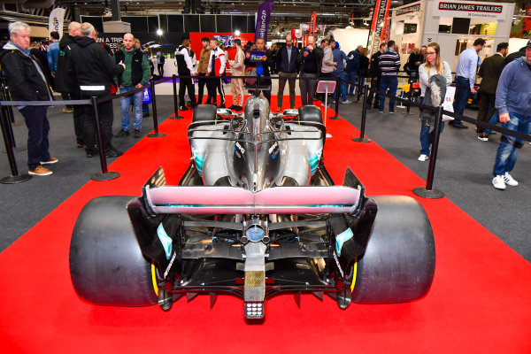 Autosport International Exhibition. National Exhibition Centre, Birmingham, UK. Thursday 11th January 2018. A Mercedes on the F1 Racing Stand.World Copyright: Mark Sutton/Sutton Images/LAT Images Ref: DSC_7601