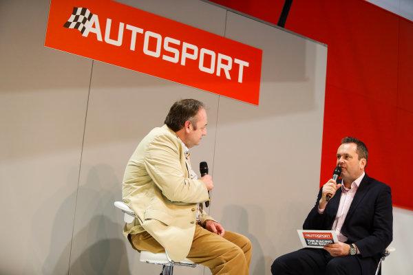 Autosport International Exhibition. National Exhibition Centre, Birmingham, UK. Thursday 11th January 2017. Bruce Wood of Cosworth talks to Henry-Hope Frost on the Autosport stage,World Copyright: Joe Portlock/LAT Images Ref: _U9I9883