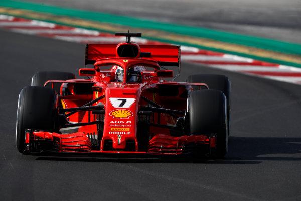 Circuit de Catalunya, Barcelona, Spain. Friday 09 March 2018. Kimi Raikkonen, Ferrari SF71H. World Copyright: Glenn Dunbar/LAT Images ref: Digital Image _X4I1646