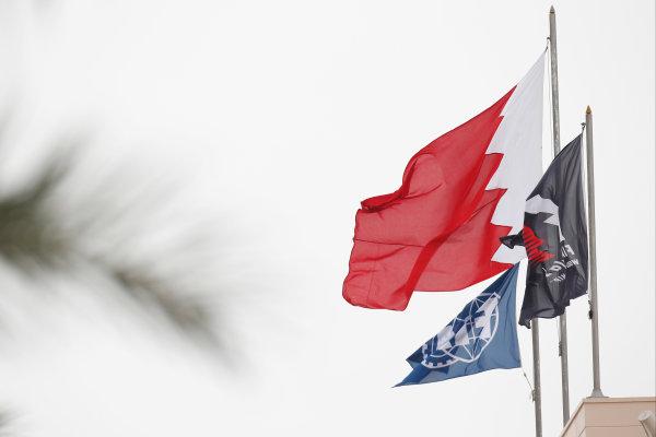 Bahrain International Circuit, Sakhir, Bahrain. Thursday 31 March 2016. Flags in the Bahrain paddock. World Copyright: Sam Bloxham/LAT Photographic ref: Digital Image _L4R5528