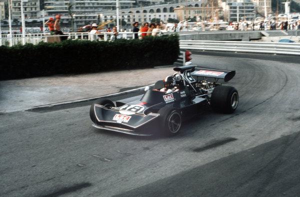 Monte Carlo, Monaco.31/5-3/6 1973.  David Purley (March 721G Ford).  World Copyright - LAT Photographic
