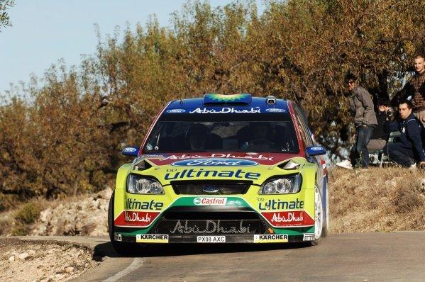 Mikko Hirvonen (FIN), Ford Focus WRC, on stage 15.World Rally Championship, Rd12, Rallye de Espana, Salou, Spain, 3-5 October 2008.