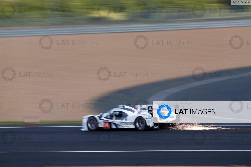 2014 Le Mans 24 Hours. Circuit de la Sarthe, Le Mans, France. Wednesday 11th June, 2014. Romain Dumas (FRA), Neel Jani (CHE), Marc Lieb (DEU) - Porsche Team, Porsche 919 - Hybrid  Photo: Sam Bloxham/LAT ref: Digital Image _SBL7289
