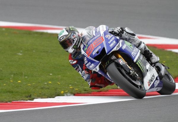 2014 MotoGP Championship  British Grand Prix.  Silverstone, England. 29th - 30st August 2014.  Jorge Lorenzo, Yamaha.  Ref: _W7_8331. World copyright: Kevin Wood/LAT Photographic