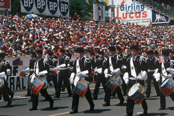 Le Mans, France. 12 - 13 June 1976.Marching band before the start of the race, atmosphere.World Copyright: LAT PhotographicRef: 76LM36.