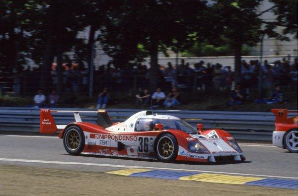 1993 Le Mans 24 Hours Le Mans, France. June 19 - 20. Eddie Irvine, Toshio Suzuki and Masanori Sekiya's fourth placed no. 36 Toyota TS010. Action. World Copyright: LAT Photographic ref: 93LM05.