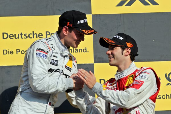 Congratulation for race winner Jamie Green (GBR), AMG Mercedes, left, from Miguel Molina (ESP), Audi Sport Team Abt Junior, right.DTM, Rd10, Hockenheim, Germany, 22-23 October 2011 World Copyright: LAT Photographicref: Digital Image dne1123oc75